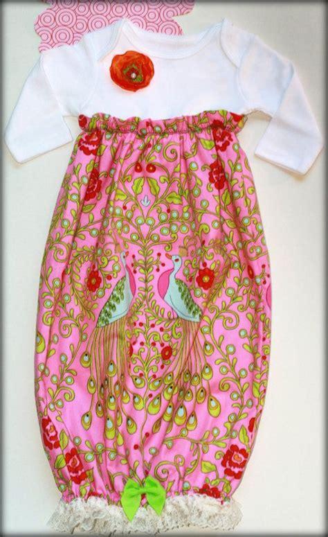 custom boutique pink ruffled layette baby girl sleep sack sac christening hospital gown shower