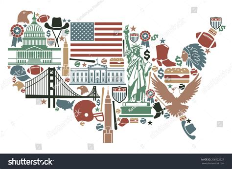 Traditional Symbols In The Form Of A Usa Map Stock Vector