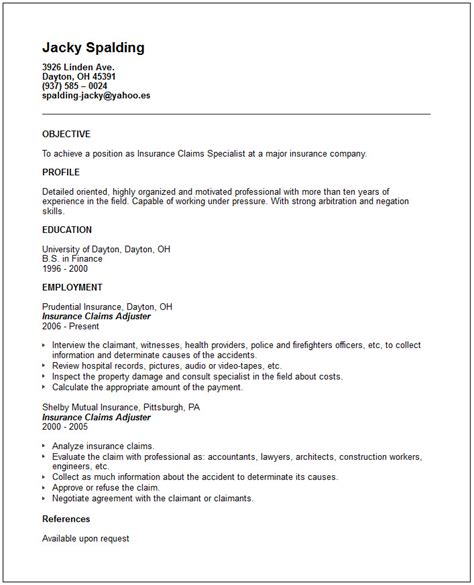 Claim Adjuster Resume Objective by Insurance Claims Adjuster Resume Exle Free Templates