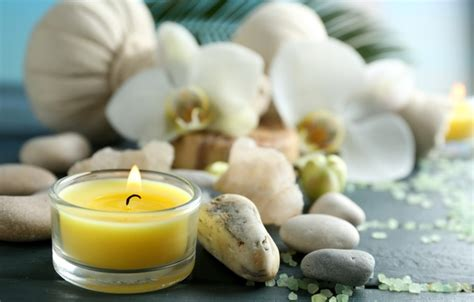 wallpaper flowers stones candles relax flowers spa