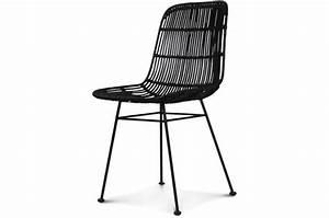 Chaise Noire Design : chaise style naturel rotin noire pieds m tal liata chaise design pas cher ~ Teatrodelosmanantiales.com Idées de Décoration