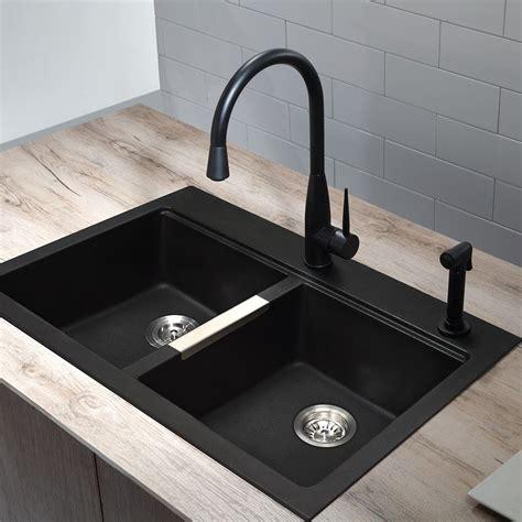 1 basin kitchen sink shop kraus kitchen sink 22 in x 33 in black onyx