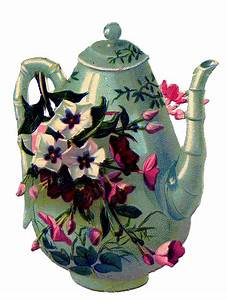 Antique Graphic - Teapot with Flowers - The Graphics Fairy
