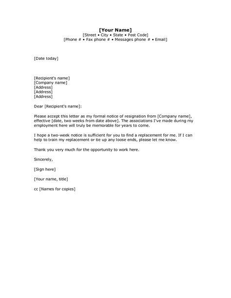 weeks notice letter templates excel xlts