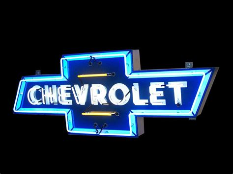 striking  chevrolet single sided neon porcelain dealershi