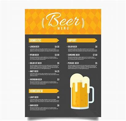 Menu Beer Examples Yellow Ai Vector