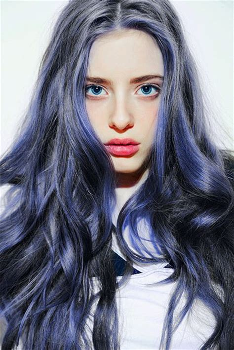 Gray Hair With Blue Streaks Hair Pinterest Pastel