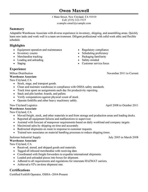 Resume Description by Warehouse Worker Resume Objective Exles Template Design