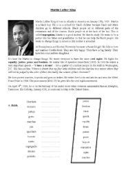 martin luther king esl worksheet by portuguese24