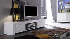 Banc Tv Design : meuble tv laqu blanc 190 cm avec portes et tag re naomi gdegdesign ~ Teatrodelosmanantiales.com Idées de Décoration