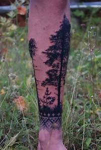 Creative pine tree arm tattoo - TattooMagz
