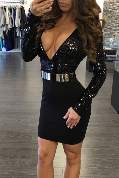 Hualong Sexy Women Deep V Neck Club Party Dresses Online