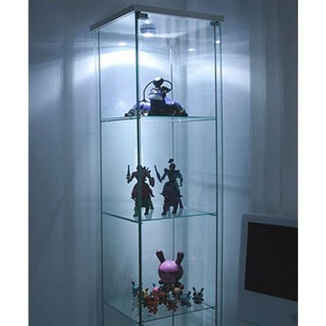 ikea detolf glass curio display cabinet white light is