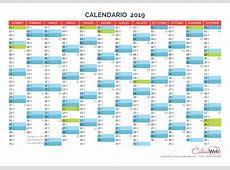 Calendario annuale Anno 2019 con le festività italiane
