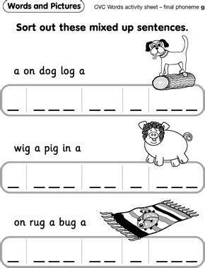 cvc  worksheets  images rhyming words