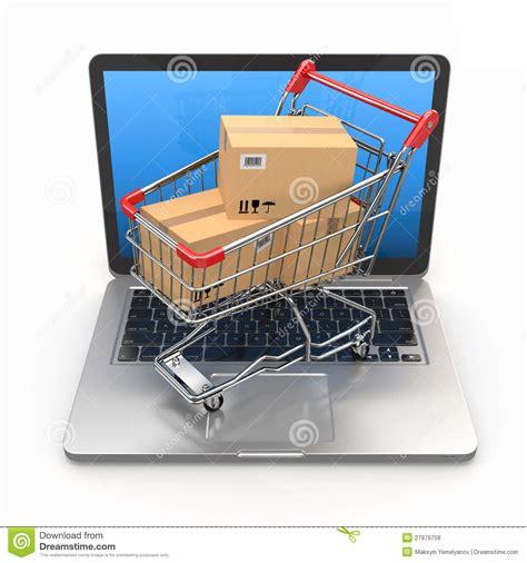 commerce shopping cart  laptop royalty  stock