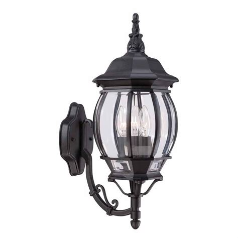 hton bay wall mounted 3 light outdoor black wall