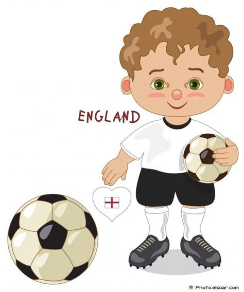 England National Jersey Cartoon Soccer Player Kids Clip