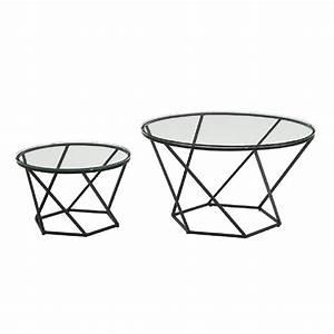walker edison furniture company geometric glass nesting With black geometric coffee table