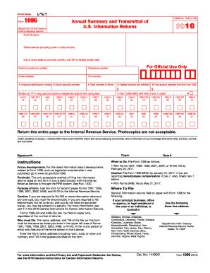 1096 Misc Form 2016 by 2017 Form Irs 1096 Fill Online Printable Fillable Blank