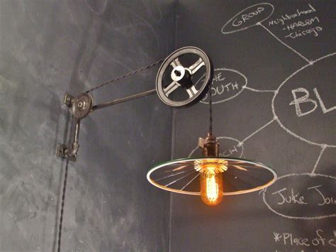 industrial pulley floor l vintage industrial pulley sconce mirrored shade wall mount
