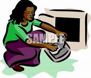 African American Woman Cleaning Lint from a Dryer ...