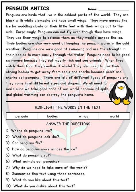 page reading comprehension worksheet pack
