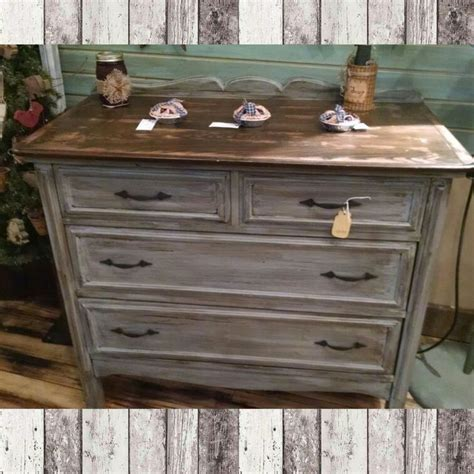 4 drawer dresser distressed grey with walnut stained
