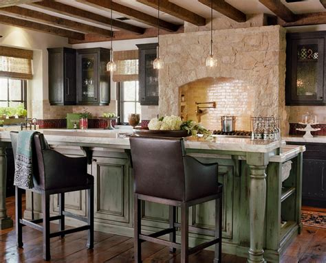 wooden kitchen island table rustic interior design brings atmosphere to your home
