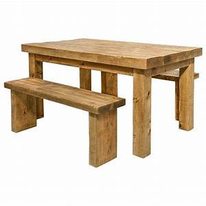 Dining Table And Benches Rustic Wood Funky Chunky