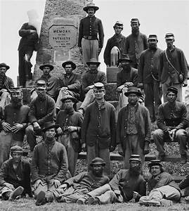 Union soldiers pose next to Henry House Hill Monument at ...