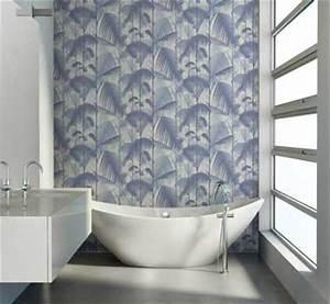 Papier Peint Salle De Bain : papier peint salle de bain design motif bleu au fil des ~ Dailycaller-alerts.com Idées de Décoration