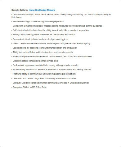 sample home health aide resume  examples  word