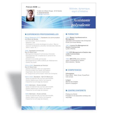 modèle cv secrétaire polyvalente mod 232 le cv word assistante polyvalente bleu cv word