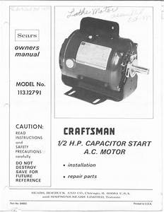 1982 Craftsman 113 12791 1  2hp Capacitor Start Ac Motor