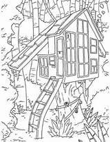 Treehouse Coloring Tree Boomhutten Kleurplaatjes sketch template