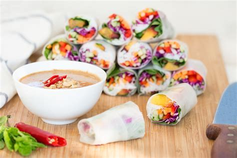 Vegan summer rolls with peanut sauce   Lazy Cat Kitchen