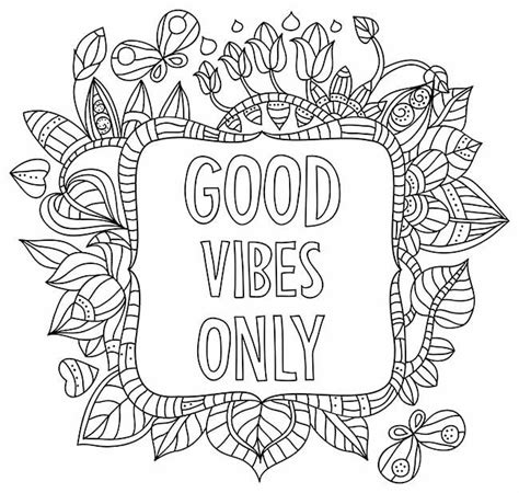 good vibes  coloring page words words colouring