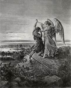 Gustave Dore Jacob Wrestling With The Angel Art Print