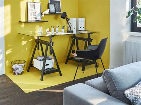 espace bureau dans salon color zoning l 39 de délimiter avec la peinture