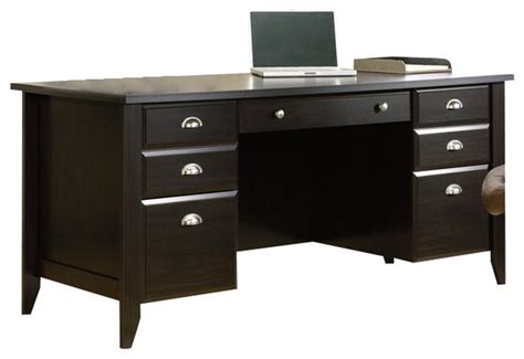 sauder shoal creek computer desk jamocha wood sauder shoal creek executive desk in jamocha wood