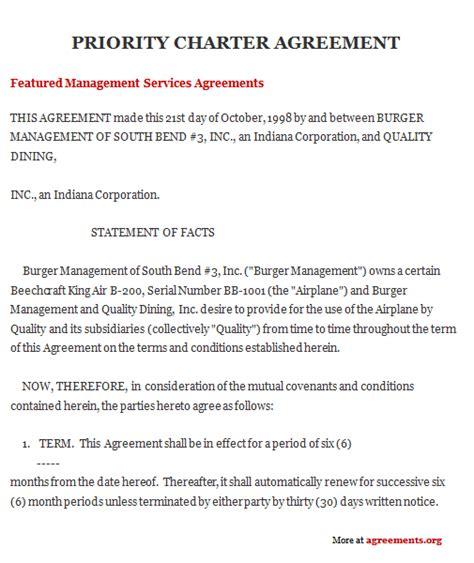 charter agreement sample charter agreement template