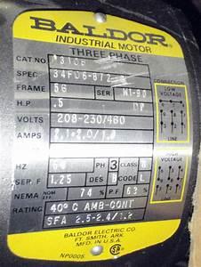 Baldor M3108 1  2hp Motor