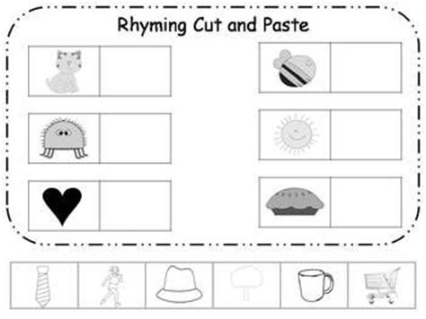 rhyming cut and paste printable freebie rhyming rhyming worksheet kindergarten reading