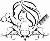 Salon Beauty Vector Silhouette Drawing Hairdresser Scissors Comb Clip Drawings Clipart Line Icons sketch template