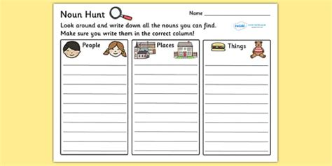 noun hunt worksheet worksheets worksheet work sheet non