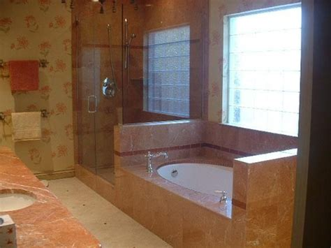 Hand Made Red Stone Shower And Tub Surround By Tile By
