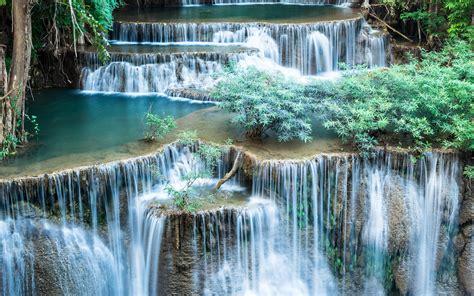 lovely cascading waterfall  green shrub desktop