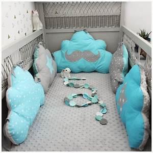 Linge De Lit Bébé Garçon : tour de lit nuage th me moustache bleu turquoise et gris tour de lit tour de lit garcon ~ Melissatoandfro.com Idées de Décoration