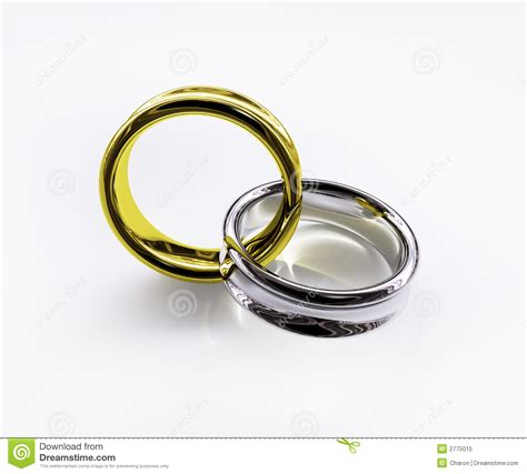 connected shiny gold silver ring royalty free stock